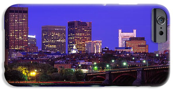 Boston Ma iPhone Cases - Dusk Charles River Boston Ma Usa iPhone Case by Panoramic Images
