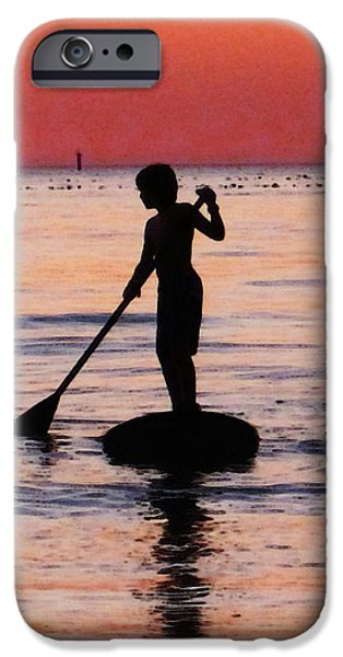 Surf Silhouette iPhone Cases - Dusk Float - Sunset Art iPhone Case by Sharon Cummings