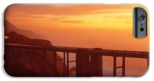 Big Sur Ca iPhone Cases - Dusk Hwy 1 W Bixby Bridge Big Sur Ca Usa iPhone Case by Panoramic Images