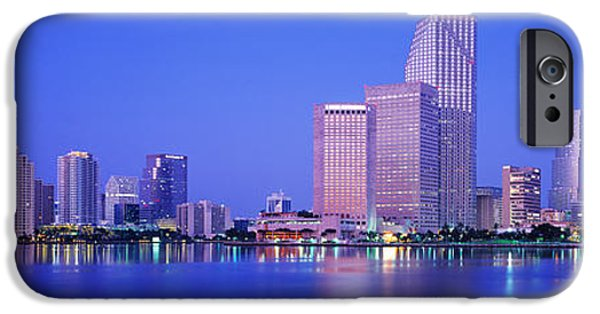 Fl iPhone Cases - Dusk, Miami Florida, Usa iPhone Case by Panoramic Images
