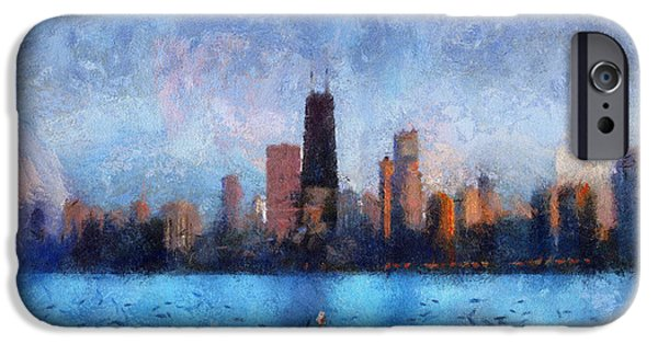 Willis Tower iPhone Cases - Dusk On Chicago Photo Art 02 iPhone Case by Thomas Woolworth
