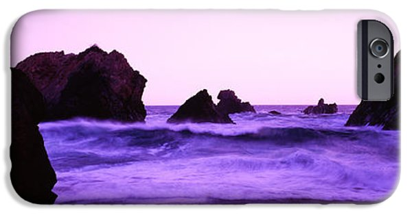 Santa Cruz Ca iPhone Cases - Dusk On The Santa Cruz Coastline iPhone Case by Panoramic Images