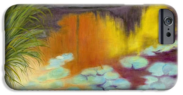 Garden Scene Paintings iPhone Cases - Dusk on Water Lilies iPhone Case by Patricia Huff
