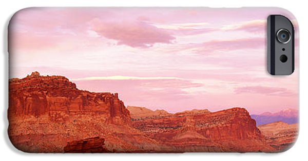 Red Rock iPhone Cases - Dusk Panorama Point Capital Reef iPhone Case by Panoramic Images