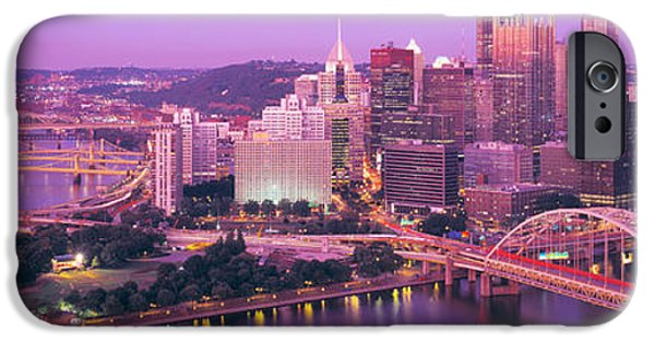Finance iPhone Cases - Dusk, Pittsburgh, Pennsylvania, Usa iPhone Case by Panoramic Images