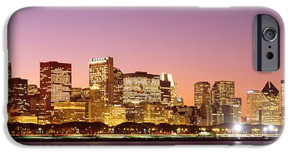 Il iPhone Cases - Dusk Skyline Chicago Il Usa iPhone Case by Panoramic Images