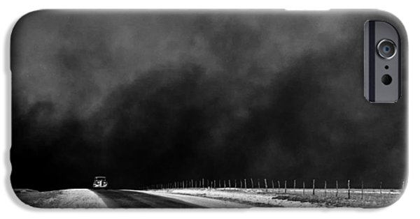 Dark Skies iPhone Cases - Dust Bowl in the Texas Panhandle 1936 iPhone Case by Mountain Dreams