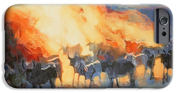 Herd iPhone Cases - Dust Cloud, Drung, 1996 Oil On Canvas iPhone Case by Mark Adlington