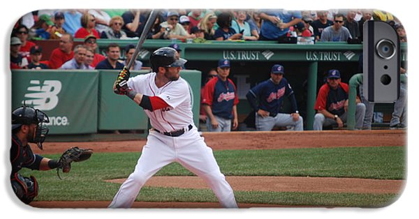 Dustin Pedroia iPhone Cases - Dustin Pedroia of the Red Sox iPhone Case by Alan Holbrook