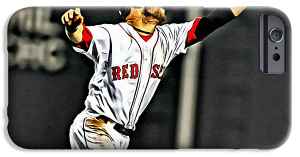 Boston Red Sox iPhone Cases - Dustin Pedroia Painting iPhone Case by Florian Rodarte