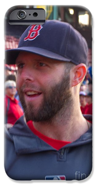 Dustin Pedroia iPhone Cases - Dustin iPhone Case by Ray Konopaske