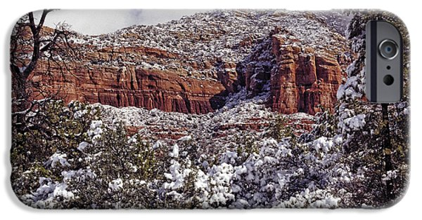Red Rock iPhone Cases - Dusting On Thunder Mountain iPhone Case by Robert Albrecht