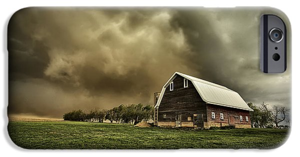 Storm Photographs iPhone Cases - Dusty Barn iPhone Case by Thomas Zimmerman