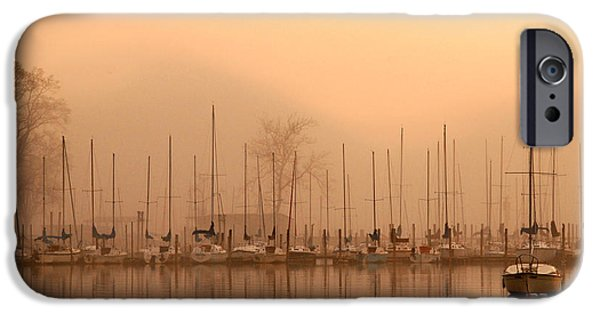 Sailboat Pyrography iPhone Cases - Dusty Dawn iPhone Case by Lori Douthat