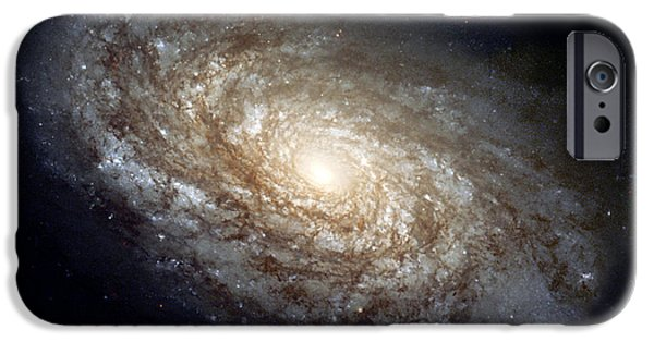 Deep Space Art Paintings iPhone Cases - Dusty Spiral Galaxy iPhone Case by Celestial Images