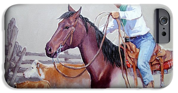 Roping Horse iPhone Cases - Dusty Work iPhone Case by Randy Follis