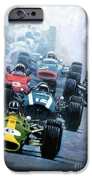 Racing iPhone Cases - Dutch GP 1967 Zandvoort iPhone Case by Yuriy Shevchuk
