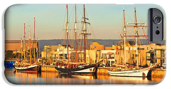Tall Ship iPhone Cases - Dutch Tall Ships Docked iPhone Case by Bill  Robinson