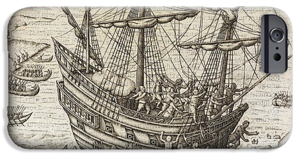 Pirate Ship iPhone Cases - Dutch Under Attack In Java, 17th Century iPhone Case by Middle Temple Library