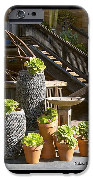 Wooden Stairs iPhone Cases - Duvet The Garden Gallery Morro Bay California  iPhone Case by Barbara Snyder