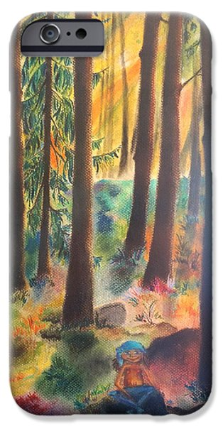 Small Pastels iPhone Cases - Dwarf in Wermlands forest iPhone Case by Rosa Garcia Sanchez