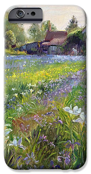 Rural iPhone Cases - Dwarf Irises And Cottage, 1993 iPhone Case by Timothy Easton