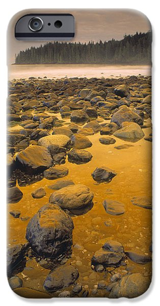 China Beach iPhone Cases - D.wiggett Rocks On Beach, China Beach iPhone Case by First Light