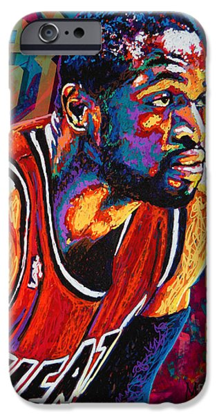 Dribbling iPhone Cases - Dwyane Wade 3 iPhone Case by Maria Arango