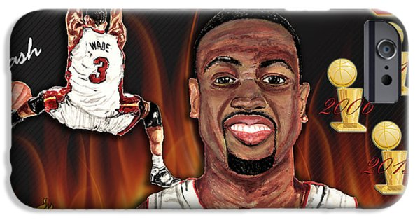 Lebron Mixed Media iPhone Cases - Dwyane Wade iPhone Case by Israel Torres