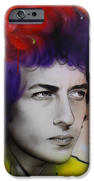 Bob Dylan Paintings iPhone Cases - Dylan iPhone Case by Christian Chapman Art