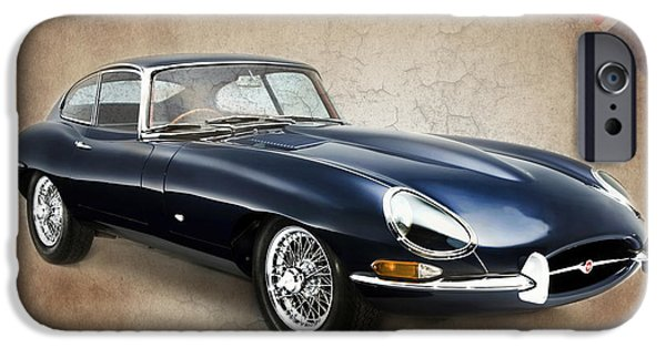 Vintage Car iPhone Cases - E Type Jaguar iPhone Case by Mark Rogan