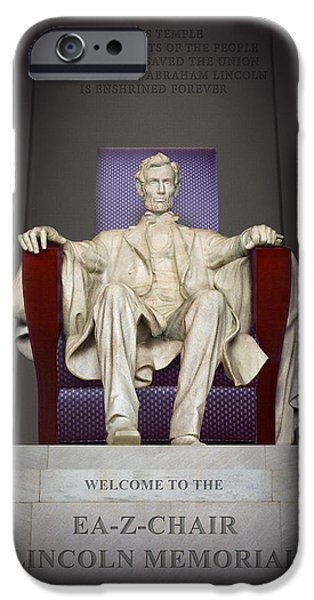 Lincoln iPhone Cases - Ea-Z-Chair Lincoln Memorial 2 iPhone Case by Mike McGlothlen
