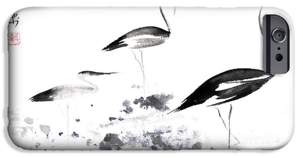 Heron Paintings iPhone Cases - Each Finds Joy In His Own Way iPhone Case by Oiyee  At Oystudio