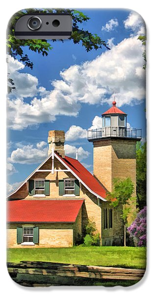 Split Rail Fence iPhone Cases - Eagle Bluff Lighthouse iPhone Case by Christopher Arndt