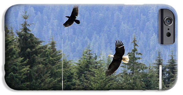 Flight Pyrography iPhone Cases - Eagle Chasing Raven iPhone Case by Shoal Hollingsworth