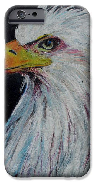 American Eagle Pastels iPhone Cases - Eagle Eye iPhone Case by Jeanne Fischer