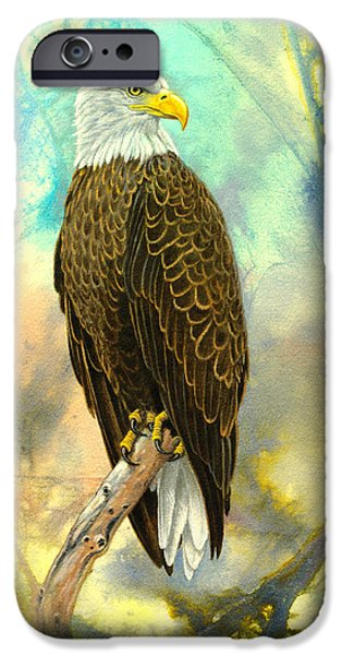 Eagle iPhone Cases - Eagle in Abstract iPhone Case by Paul Krapf