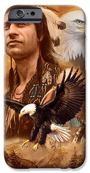 Native American Spirit Portrait iPhone Cases - Eagle Montage iPhone Case by Garry Walton