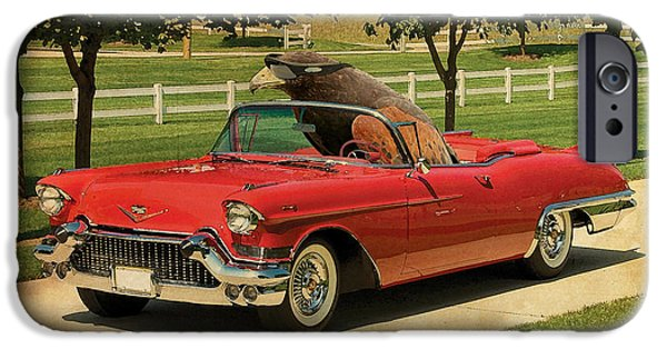 Posters On Mixed Media iPhone Cases - Eagle on Cadillac El Dorado 1957 iPhone Case by Pablo Franchi