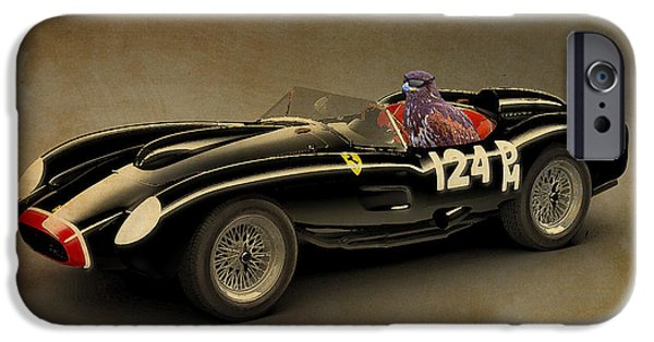 Posters On Mixed Media iPhone Cases - Eagle on Ferrari Testarossa iPhone Case by Pablo Franchi