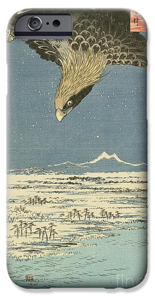 Wonderland Art iPhone Cases - Eagle Over One Hundred Thousand Acre Plain at Susaki iPhone Case by Hiroshige