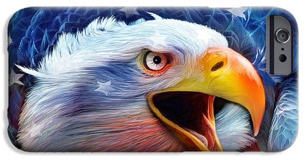 Red White And Blue Mixed Media iPhone Cases - Eagle Red White Blue 2 iPhone Case by Carol Cavalaris