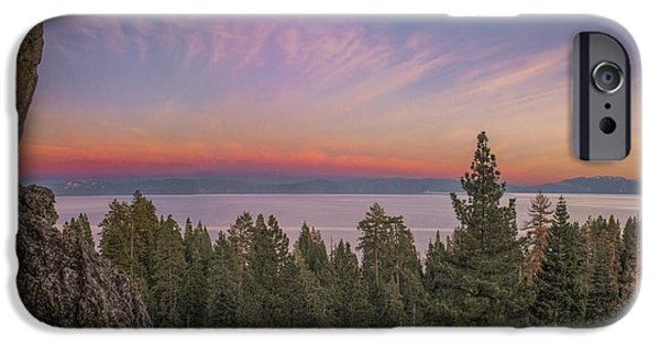 Lake Tahoe iPhone Cases - Eagle Rock Sunset iPhone Case by Jeremy Jensen