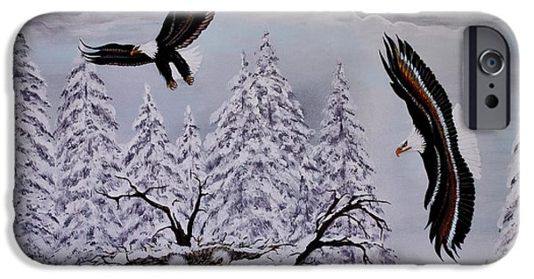 American Eagle Paintings iPhone Cases - Eagle Family Majestry iPhone Case by Adele Moscaritolo