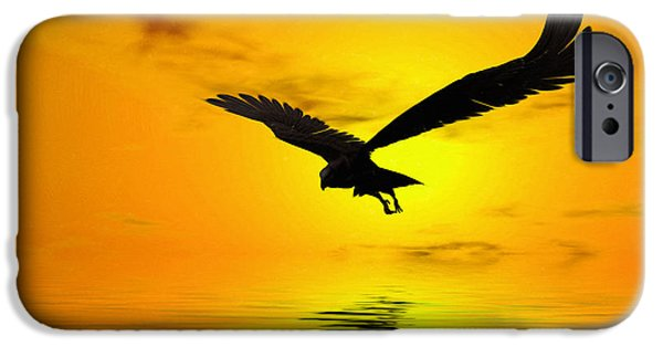 Fauna Digital Art iPhone Cases - Eagle Sunset iPhone Case by John Edwards