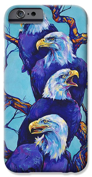 American Eagle Paintings iPhone Cases - Eagle Tree iPhone Case by Derrick Higgins