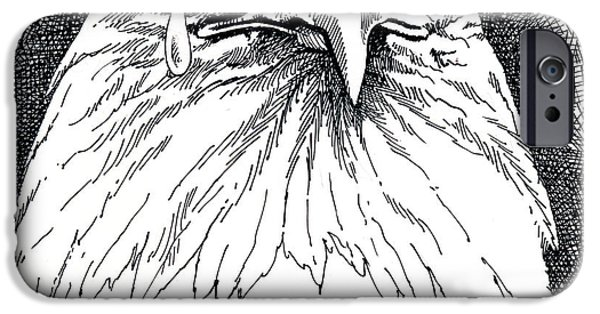 Torn Drawings iPhone Cases - Eagle with Tear iPhone Case by John D Benson
