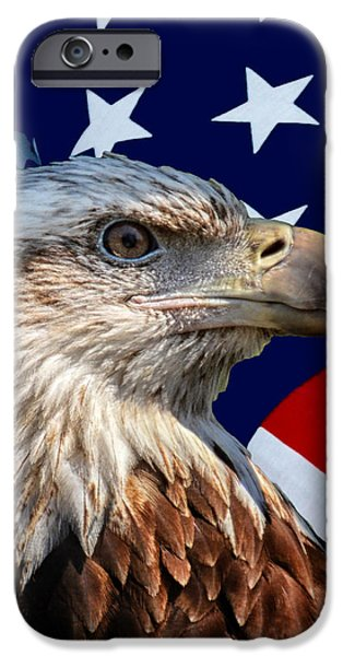 United iPhone Cases - Eagle With US American Flag iPhone Case by Thomas Woolworth