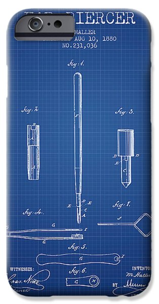 Ears iPhone Cases - Ear Piercer Patent From 1880 - blueprint iPhone Case by Aged Pixel