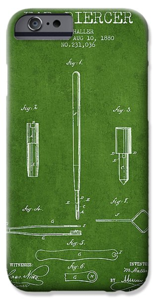 Ears iPhone Cases - Ear Piercer Patent From 1880 - Green iPhone Case by Aged Pixel